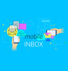 mobile inbox app on smartphone concept vector image