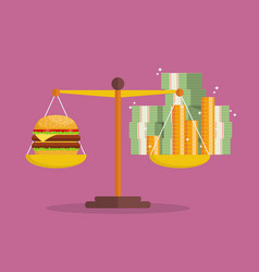 money inflation and burger balance on the scale vector image