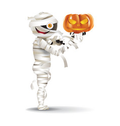 mummy hold a pumpkin vector image
