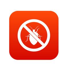No bug sign icon digital red vector