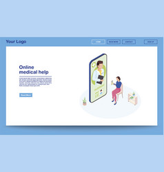 online medical help isometric webpage template 3d vector image