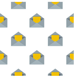Open envelope with lined sheet of paper pattern vector