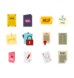 Paper icon set flat style vector