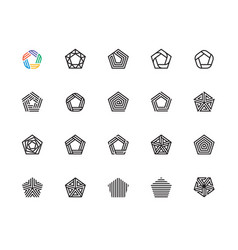 pentagon icons vector image