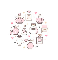 Perfume bottles circle poster with line icons vector
