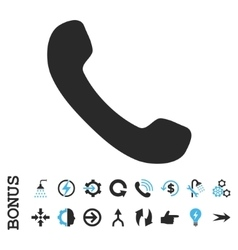 Phone Receiver Flat Icon With Bonus vector image