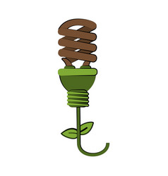 plant shape energy saving lightbulb icon image vector image