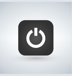 power icon on black app button with shadow vector image