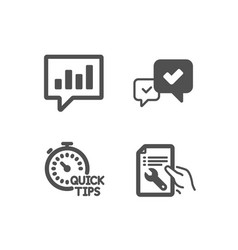 Quick tips approve and analytical chat icons vector