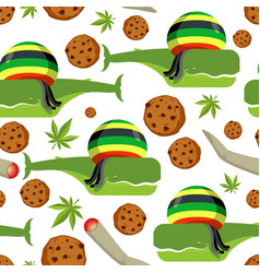 rasta whale and cookies seamless pattern large vector image