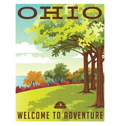 Retro travel poster series Ohio landscape vector image