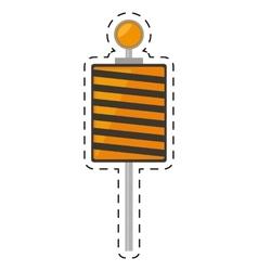 Roadblock traffic light warning cut line vector