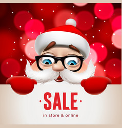 santa claus with big signboard christmas sale vector image