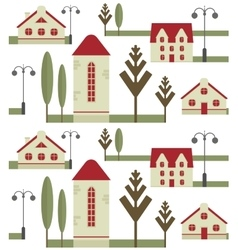 Seamless pattern element of houses with red roofs vector image