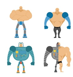 Set of Cyborgs People with mechanical limbs vector image