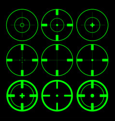 set of green target aim icons on black background vector image