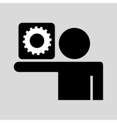 Silhouette man icon work social network vector