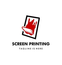 silk screen printing logo template vector image