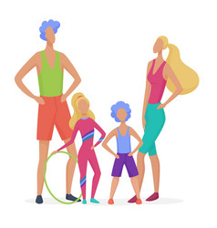 sport family isolated dad mother son and vector image