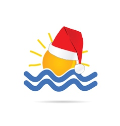 Sun icon with new year hat color vector