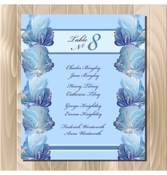 Table guest list Winter frozen glass design vector