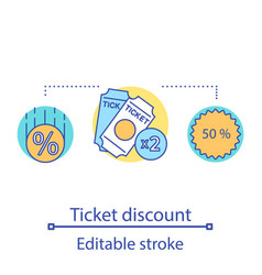 Ticket discount sale concept icon vector