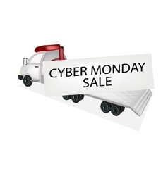 Tractor Trailer Flatbed Loading Cyber Monday Card vector image