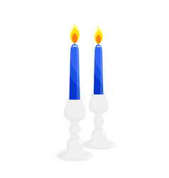 two candlesticks with candles vector image