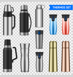 vacuum flask realistic set transparent vector image