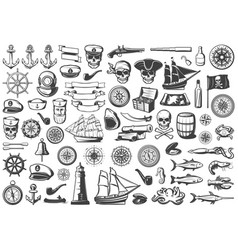 Vintage monochrome marine icons collection vector