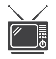 vintage tv solid icon household and appliance vector image