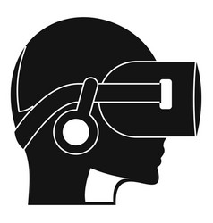 Vr headset icon simple style vector