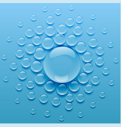 water droplets on blue background vector image