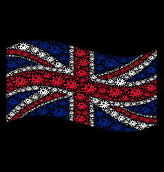 Waving great britain flag collage of infection vector