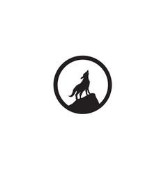 Wolf night black logo and symbol vector