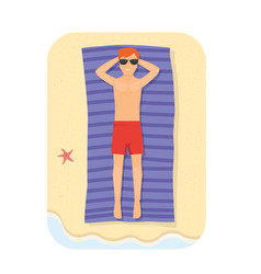 young man relaxing in the beach at summer vector image