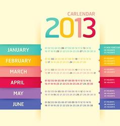 calendar 2013 modern soft color vector image
