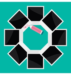 Instant photo circle and pencil in flat design vector image vector image