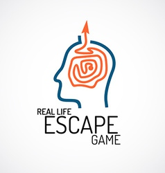 Real life escape quest game logo template vector image vector image