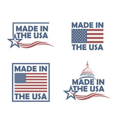 set of made in usa labels vector image