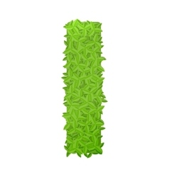 Uppecase letter I consisting of green leaves vector image