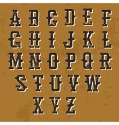 Vintage Grunge alphabet Decorative display font vector image
