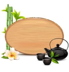 Wooden Board with Teapot vector image vector image