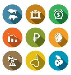 Currency devaluation icons set vector