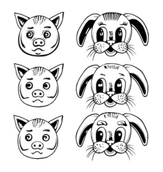 head of a pig and a rabbit vector image vector image