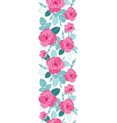 vintage pink roses and blue leaves on white vector image