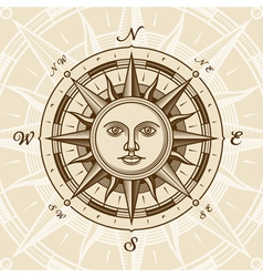 Vintage sun compass rose vector image vector image