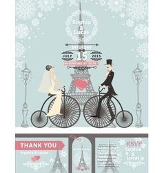 Wedding invitationsBridegroombikeParis Winter vector image