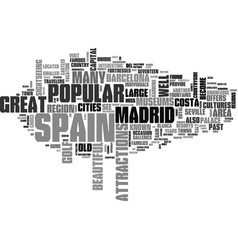 what to see and do while in spain text word cloud vector image