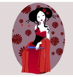 a beautiful geisha in red dress vector image vector image